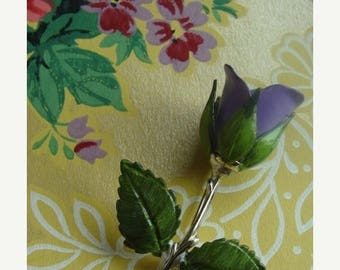 ONSALE Gorgeous Vintage Enamel Purple Rose Flower Brooch