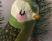 Green Paper Mache Bird Sculpture