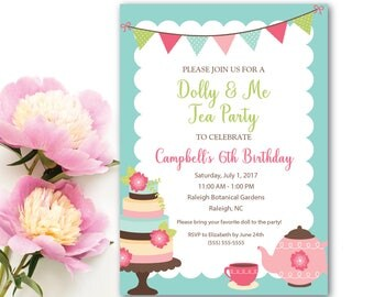 Tea Party Invitation, Dolly and Me Tea Party Invitation, Little Girl's Birthday Party Invitation, Printed and Digital Options Available