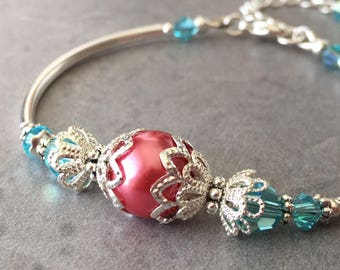 Pearl Bridesmaid Bracelets, Coral Pearl and Lt Turquoise Swarovski Crystal Bracelet in Silver, Coral Bridal Party Jewelry, Bridesmaid Sets
