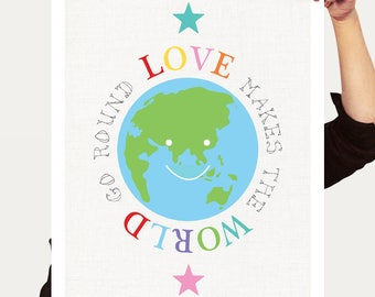kids wall art globe print, love makes the world go round artwork poster, planet earth stars, inspirational quote, baby boy baby girl nursery