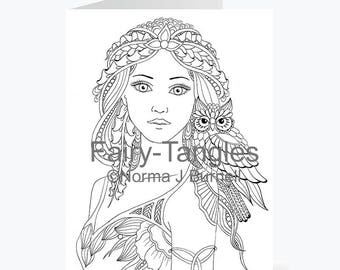 Printable Fairy Tangles Greeting Cards to Color by Norma J Burnell Willow & Wisp Fairy and Owl for Card Making Coloring Fairy Cards