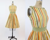 1950s Dress Small / 1950s Vintage Dress Striped Cotton / Winnie Dress