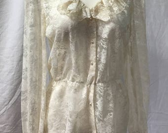 VIntage 80s Edwardian Ivory Sheer Lace Blouse Peplum and Ruffled Collar M