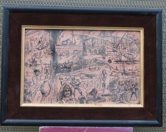 Vintage framed black ink drawings,signed by Angelo,black ink drawings,vintage ink drawings,framed ink drawings