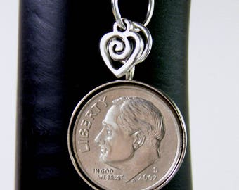 """15th Wedding Anniversary-2002 US Dime Necklace, 24"""" Sterling Silver Chain"""