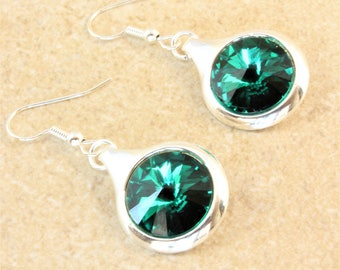 Swarovski Emerald Green Rivoli Crystal in a Silver Plated Round Setting on Silver Plated Ear Wire