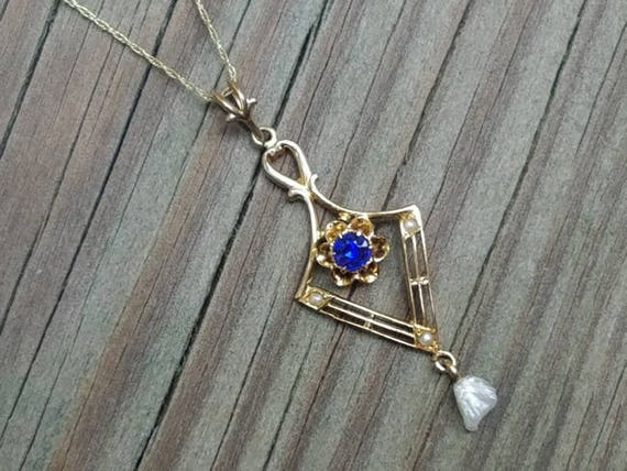 Antique Edwardian 10k filigree blue sapphire doublet and pearl lavalier pendant necklace / lavaliere signed Swift and Fisher