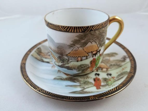 Vintage hand painted Made in Occupied Japan Ardalt demitasse cup and saucer, porcelain, china, bone china, tea, coffee, high tea, tea party