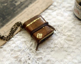 Mini Wearable Book, Vintage Brown Leather, Tea Stained Pages, OOAK