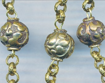 Beautiful HANDMADE NEPAL BEADS Brass used in Necklace 11mm  1 Bead