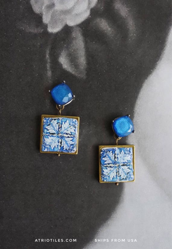 Earrings Tile Portugal Azulejo Blue Rhinestone Post Stud Antique 16th Century FRAMED Tomar - Convent of Christ built in 1160  reversible 658