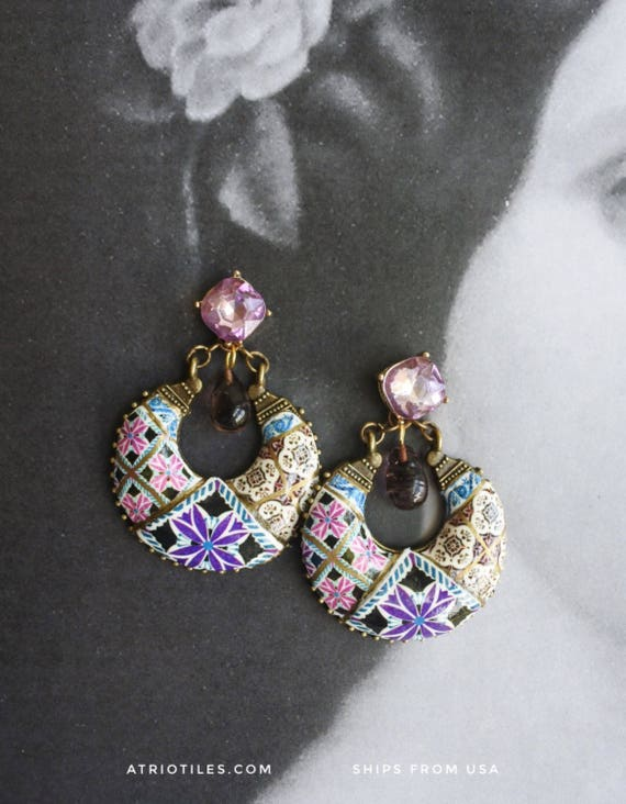 Earrings Portugal Tile Chandelier Portuguese Azulejo PURPLE Antique Aveiro - Gift Box Included - Rhinestone Studs - Ships from USA