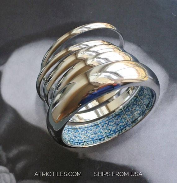 Bangles Bracelet Set Stacked Portugal Tile Blue Azulejo BURIED TREASURE AvEIRO Santa Joana Convent 1458 - Statement Discreet