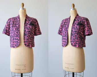 Cropped Jacket Blazer / Pink and Navy Cotton / Animal Prints / Size Small