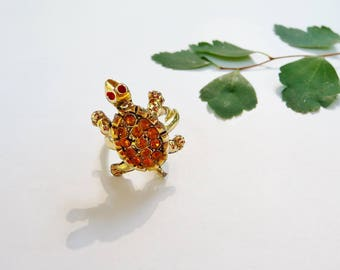Vintage Turtle Ring Topaz Color Rhinestones, Adjustable Band