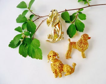Vintage Dog Brooch Lot, 2 Poodle Pins, 1 Hound Dog Pin, Gold Tone Metal