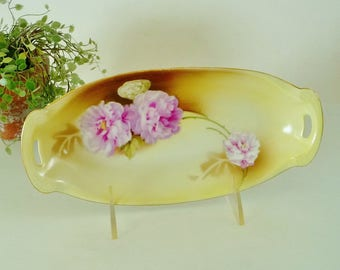 Vintage Relish Celery Porcelain Dish, Pink Peony Flowers Open Handled Oval Dish, RS Tillowitz Silesia Germany