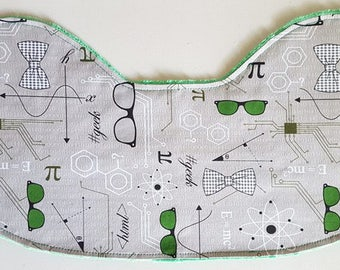 Baby Burp Cloth - Science Hipster Nerd on Green Minky, Computer Science Geek Chic Baby Burp Cloth Contoured Burp Cloth Burpie