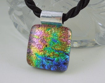 Rainbow Necklace - Dichroic Fused Glass Pendant - Fused Glass - Mosaic Pendant - Dichroic Glass - Dichroic Jewelry- Bohemian Necklace 2854