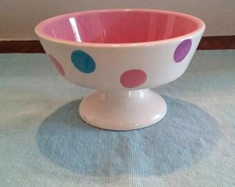Pastel Polka Dot Footed Bowl