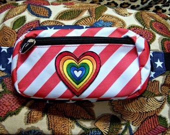 Belt Bag, Rainbow Heart, Fanny pack, American, Flag, Hands free bag