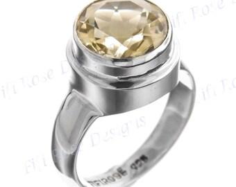 Big 4.5ct Lemon Quartz 925 Sterling Silver Sz 8 Ring