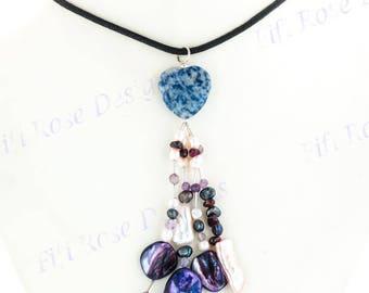 Opulent Sodalite Red Garnet %26 Pearls 925 Sterling Silver Black Rope Necklace