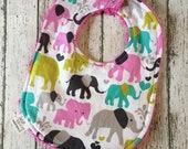 Elephant Baby Girls Gifts Infant Bib Elephant Baby Shower Gift Dribble Baby Bib Drooling Girl Bibs Pink and Grey Elephant