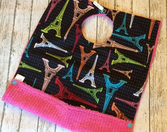 Black Bright Eiffel Tower Pocket Bib   Full Coverage Toddler Size   Perfect accessory for a Paris Themed Party