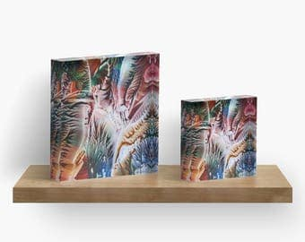 Rainbow Harvest or ANY of My ART on Acrylic Block / Shelf, Mantle, Desk Art, Paperweight / Small Space Art / Made to Order in 2 Sizes