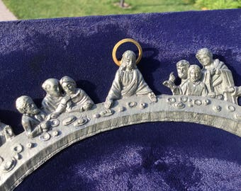 The Last Supper - 3D Pewter & Brass on Navy Velvet Plaque - Passover Supper