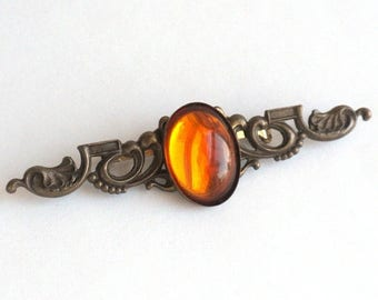 SUMMER SALE Victorian Style Bar Brooch with Ornate Scroll Work and Amber Colored Cabochon