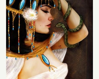 50% Off SALE Cleopatra and the Serpent  11x17 or 13x19 Large Sized Giclee Premium Fine Art Print