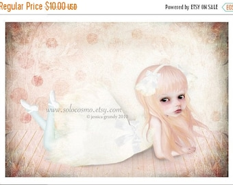 "50% Off SALE 5x7 Premium Art Print ""The Swan Princess"" Small Size Giclee Print - Lowbrow Art Swan Lake Ballet Little Girl Ballerina"