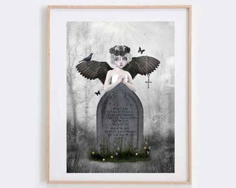 Angel Art Print - Angel And Tombstone - Digital/Mixed Media Art - A4 Art Print - Fallen Angel