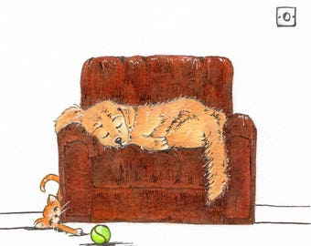 The ball thief, Greeting Card, Original Illustration Print, Birthday Card, Notelet, Blank Card