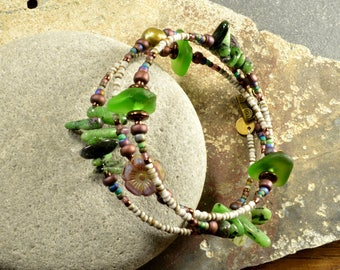 Super fabulous natural Maine gleaming green sea glass adjustable wrap bracelet with ruby zoizite  colorful funky fun for you