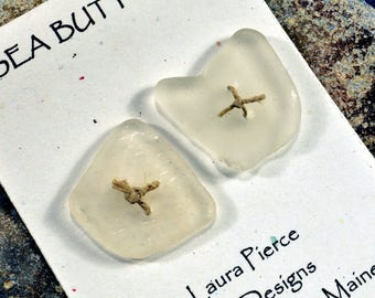 Two square icy white double drilled naturally ocean tumbled Maine sea glass  buttons perfect for fiber arts and jewelry craft
