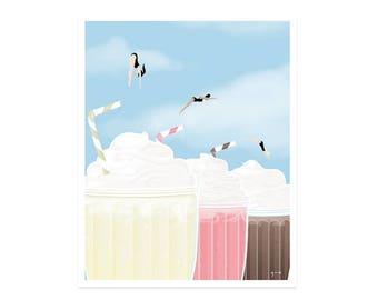 Neapolitan Milkshake Divers - 8x10 art print