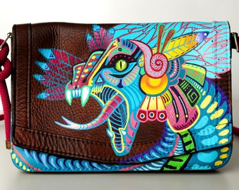 Vintage leather bag, hand-painted with a Quetzalcoatl (Mexican Aztec god)