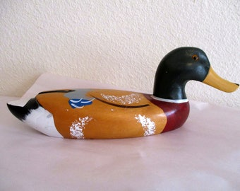 Vintage DUCK Wood Carving Hand Carved Wooden Decoy Painted Large Mallard Statue Figure Figurine