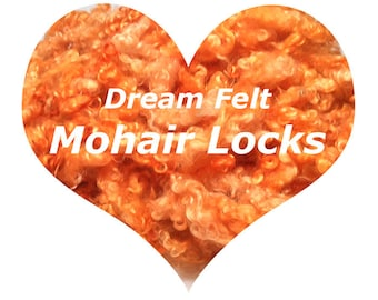 Dream Felt's Beautiful Mohair Locks Sun Kissed Orange 1 oz  for Needle Felting, Wet Felting, Spinning, Doll Hair and more!