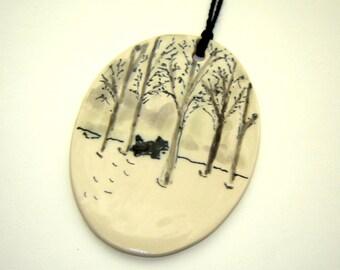 Winter Scene Ornament – Snow Painting - Scottie Dog – Hand Painted Ceramics – Black and White – Fine Art Ceramics