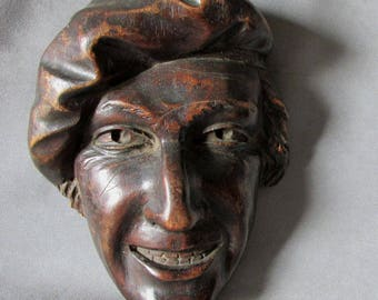 Fine Hand Carved Mask, Plaque of French Man in Beret