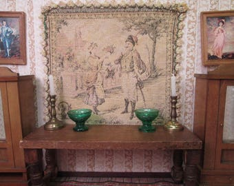 """Vintage Dollhouse Accessory - French Tapestry Wall Hanging or Rug - 6 1/2"""" Square"""