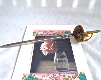 Vintage Spanish Style Saber Sword Dragon Letter Opener by Toledo Home or Office Accessary Vintage Letter Opener Desk Tool Vintage Home Decor