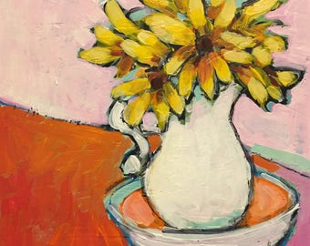 "Many Susans - Original Acrylic Oil Encaustic Still Life Painting - 8""x8"""