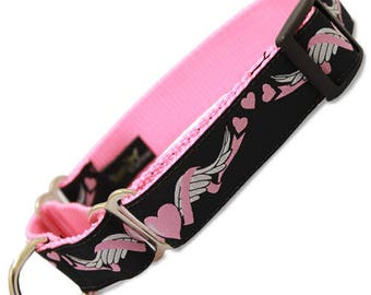 Wing of Love - Hearts with wings martingale dog collar