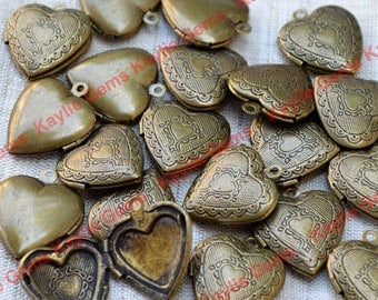 Sale - 20pcs 20mm Antique Brass Heart Locket Charm Pendant Victorian Style -LKHS-113AB